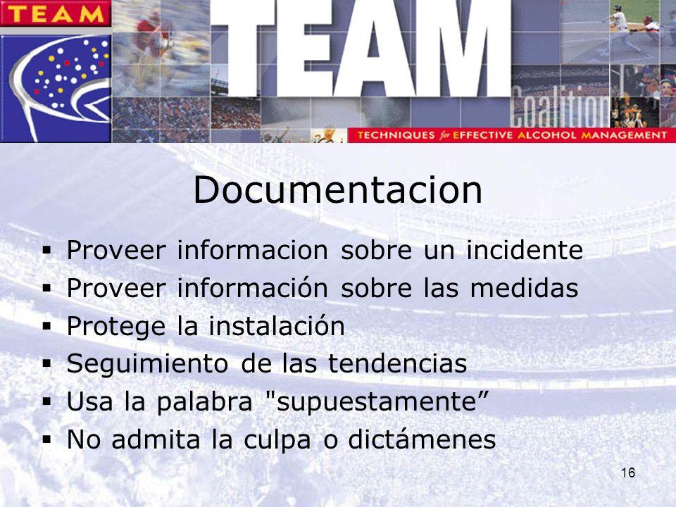 16 Documentacion Proveer informacion sobre un incidente Proveer información sobre las medidas Protege la instalación Seguimiento de las tendencias Usa