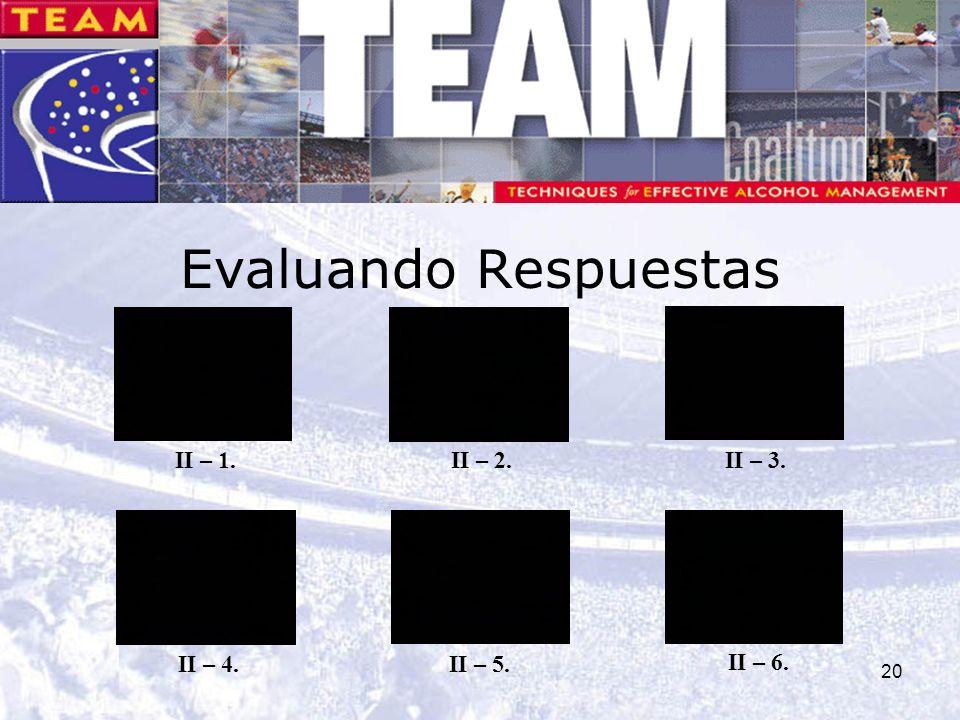 20 Evaluando Respuestas II – 1. II – 5. II – 2.II – 3. II – 4. II – 6.