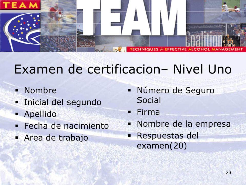 23 Examen de certificacion– Nivel Uno Nombre Inicial del segundo Apellido Fecha de nacimiento Area de trabajo Número de Seguro Social Firma Nombre de