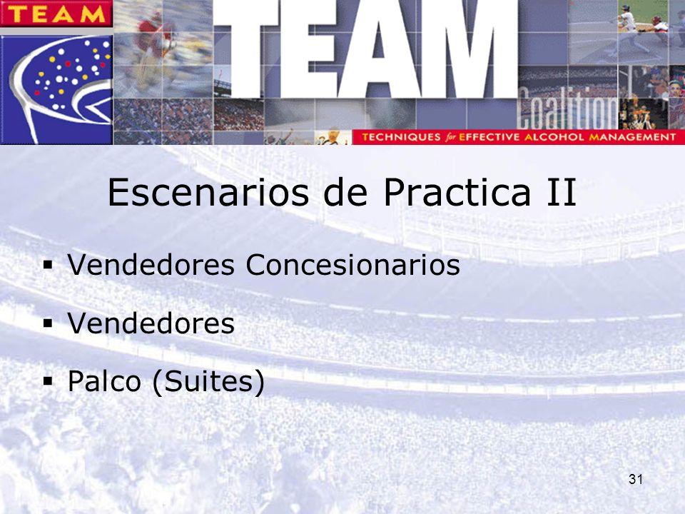 31 Escenarios de Practica II Vendedores Concesionarios Vendedores Palco (Suites)