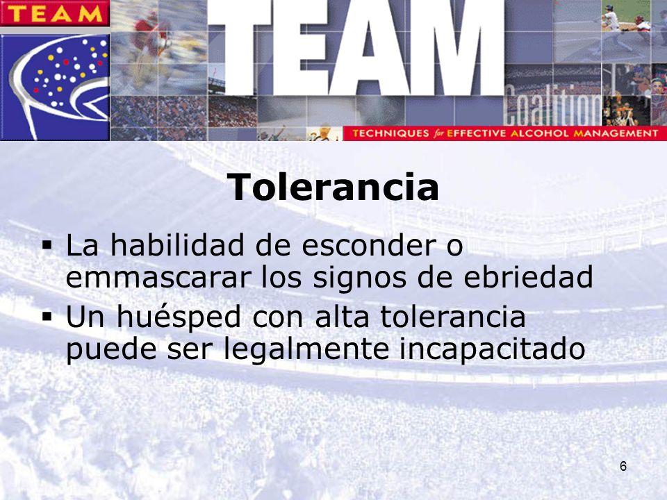 6 Tolerancia La habilidad de esconder o emmascarar los signos de ebriedad Un huésped con alta tolerancia puede ser legalmente incapacitado