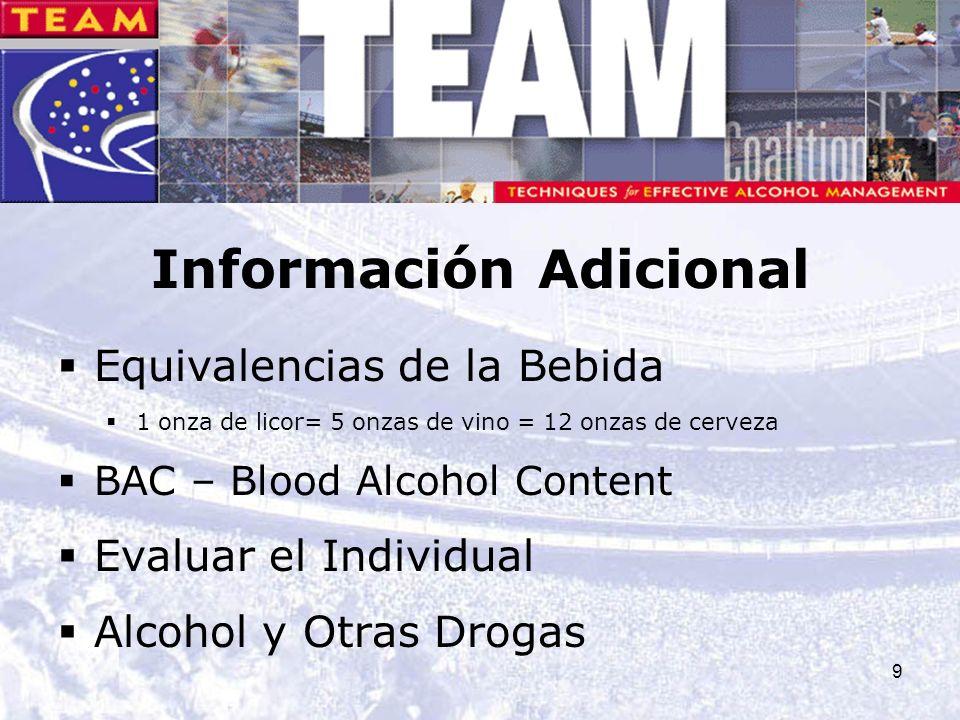 9 Información Adicional Equivalencias de la Bebida 1 onza de licor= 5 onzas de vino = 12 onzas de cerveza BAC – Blood Alcohol Content Evaluar el Indiv