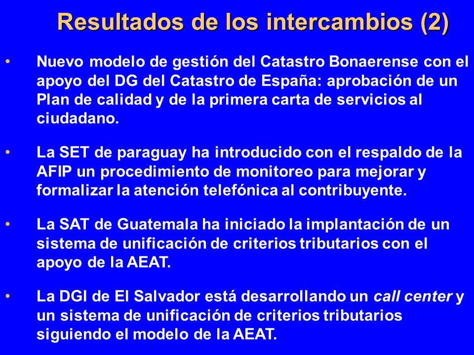 Resultados de los intercambios (2) Nuevo modelo de gestión del Catastro Bonaerense con el apoyo del DG del Catastro de España: aprobación de un Plan d