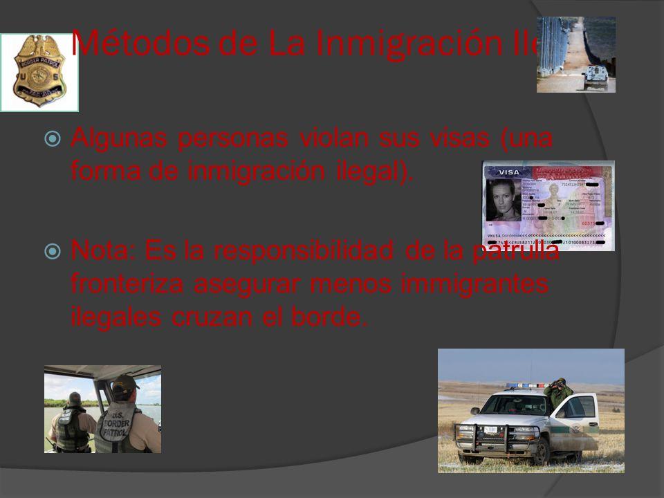 Métodos de La Inmigración Ilegal Algunas personas violan sus visas (una forma de inmigración ilegal).