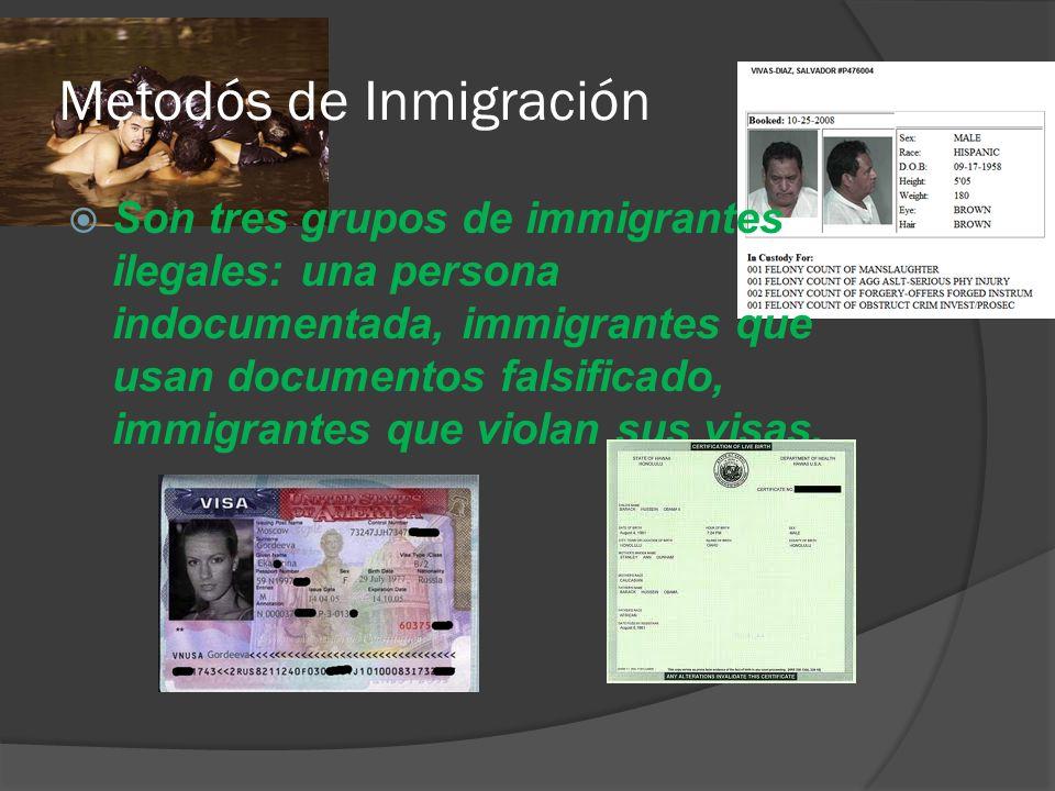 Metodós de Inmigración Son tres grupos de immigrantes ilegales: una persona indocumentada, immigrantes que usan documentos falsificado, immigrantes que violan sus visas.