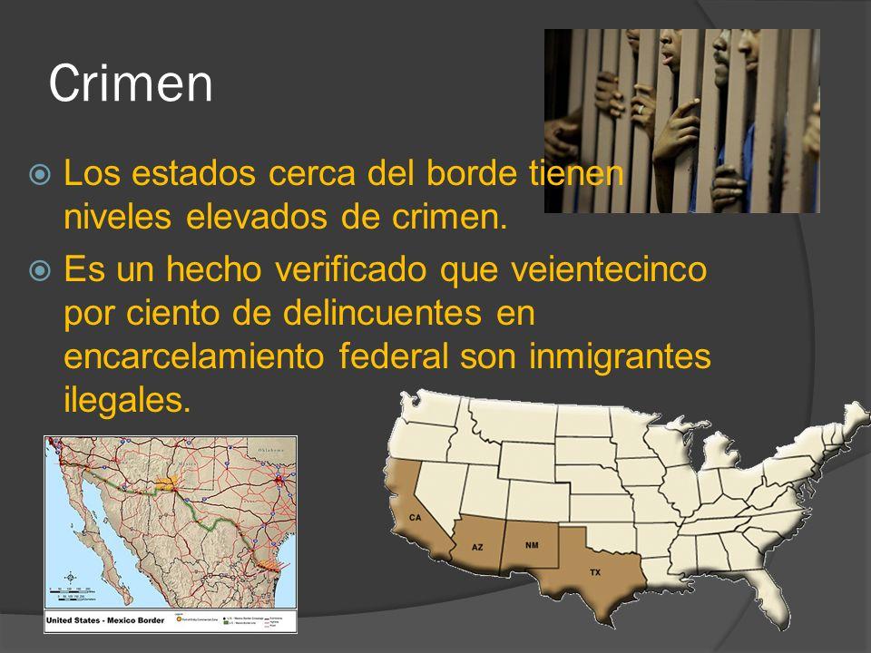 Crimen Los estados cerca del borde tienen niveles elevados de crimen.