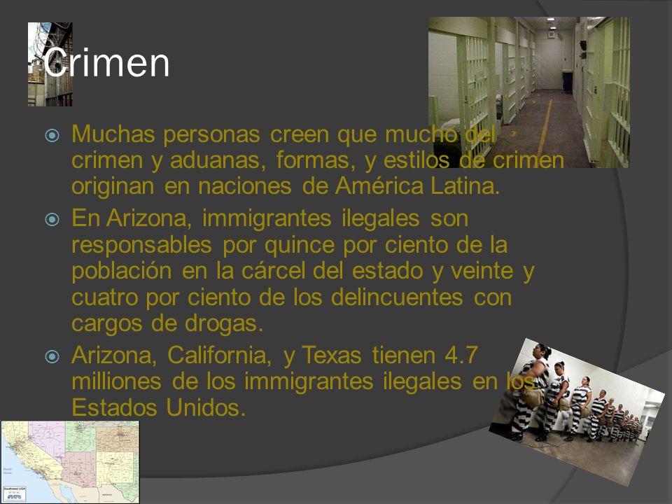 Crimen Muchas personas creen que mucho del crimen y aduanas, formas, y estilos de crimen originan en naciones de América Latina.