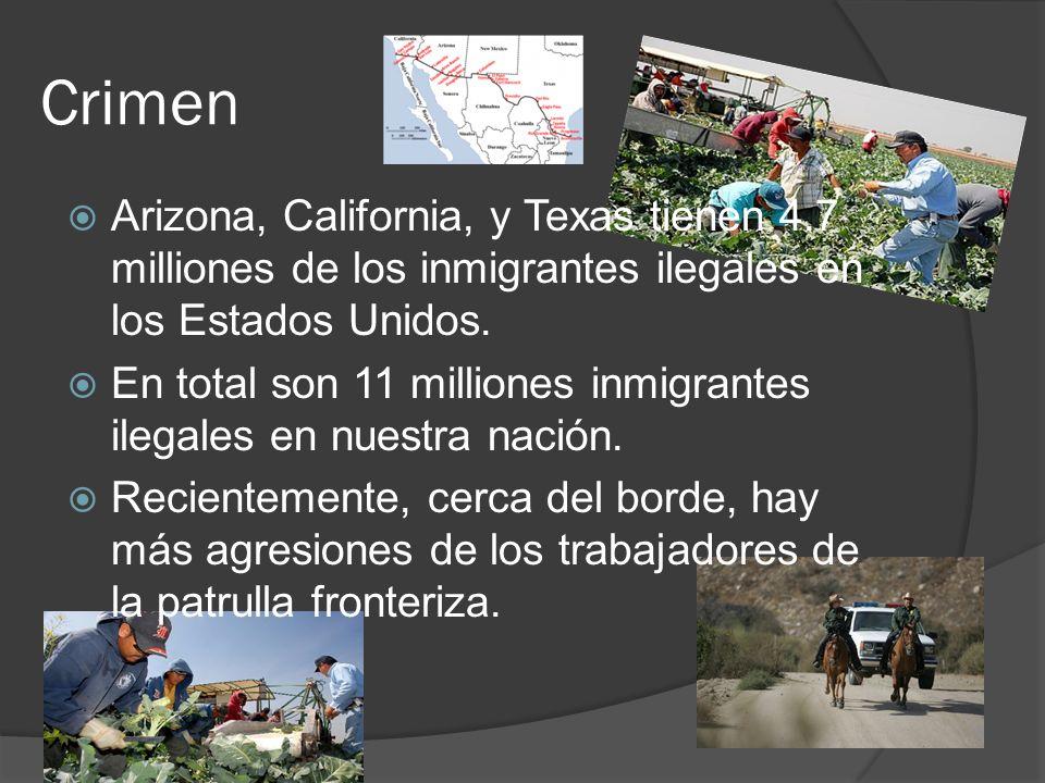 Crimen Arizona, California, y Texas tienen 4.7 milliones de los inmigrantes ilegales en los Estados Unidos.