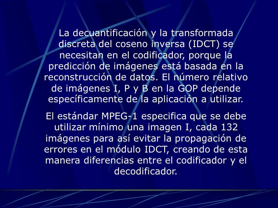La decuantificación y la transformada discreta del coseno inversa (IDCT) se necesitan en el codificador, porque la predicción de imágenes está basada