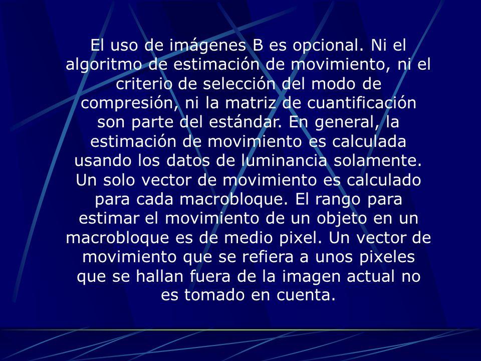 El uso de imágenes B es opcional. Ni el algoritmo de estimación de movimiento, ni el criterio de selección del modo de compresión, ni la matriz de cua