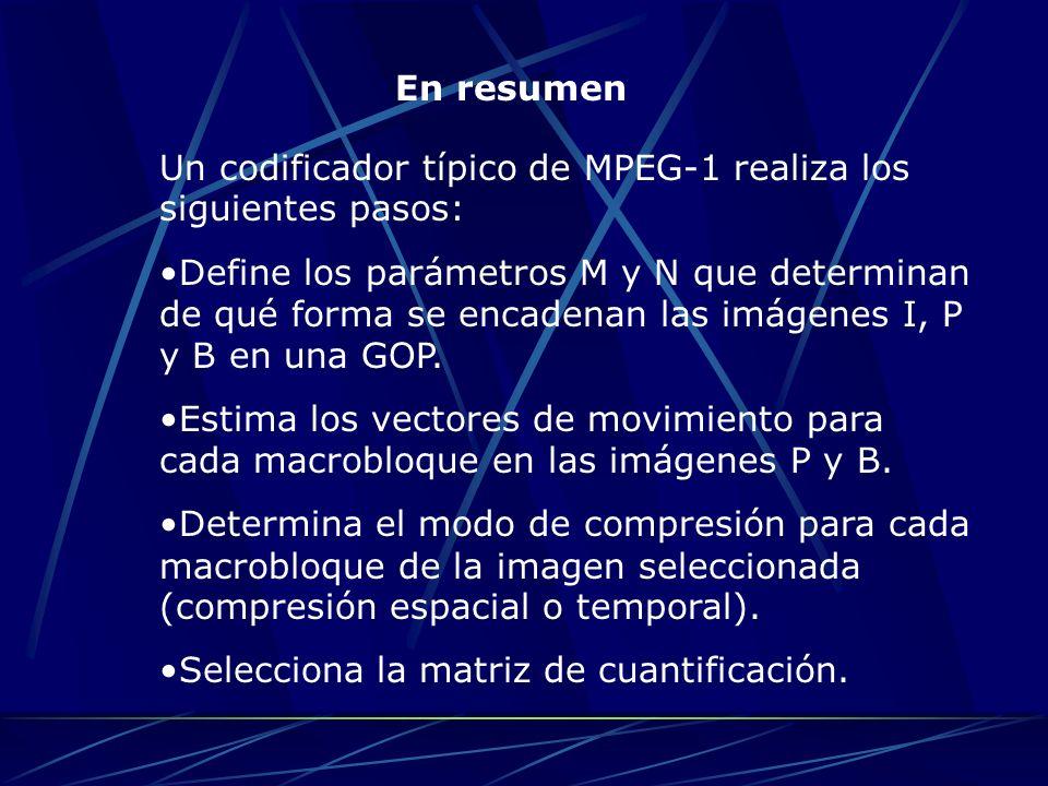 En resumen Un codificador típico de MPEG-1 realiza los siguientes pasos: Define los parámetros M y N que determinan de qué forma se encadenan las imág