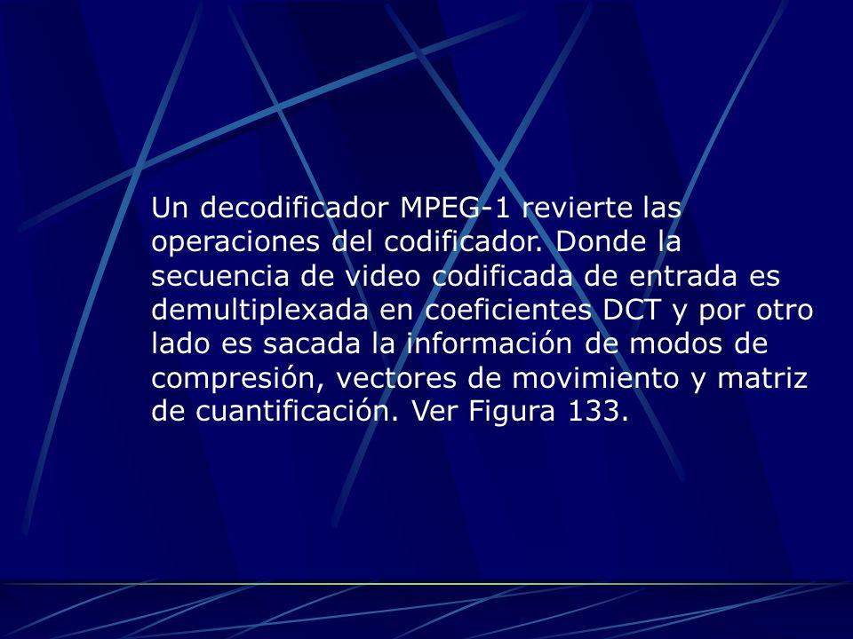Un decodificador MPEG-1 revierte las operaciones del codificador. Donde la secuencia de video codificada de entrada es demultiplexada en coeficientes