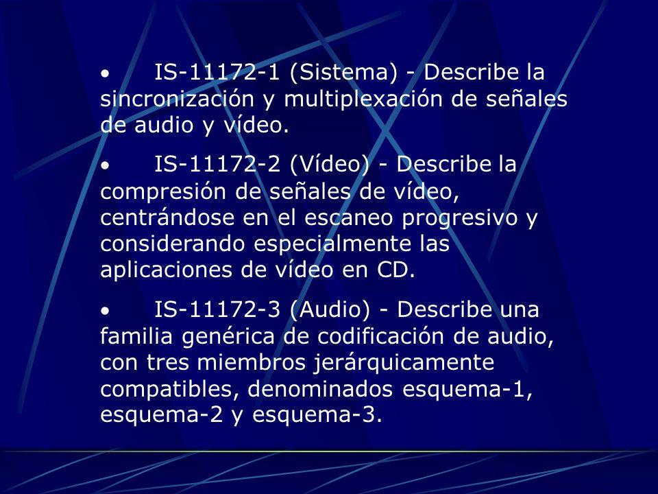 IS-11172-1 (Sistema) - Describe la sincronización y multiplexación de señales de audio y vídeo. IS-11172-2 (Vídeo) - Describe la compresión de señales