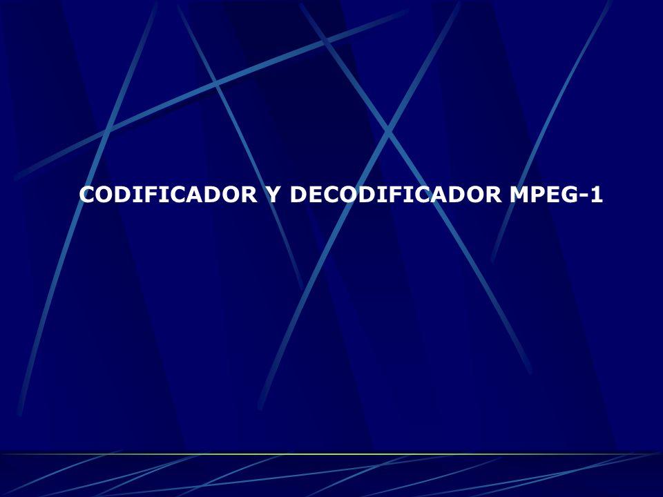 Un codificador de MPEG-1 incluye módulos de estimación de movimiento, selección de modos de compresión por macrobloques, conjunto de valores para la matriz de cuantificación, predicción de compensación de movimiento, cuantificador y decuantificador, transformada discreta del coseno (DCT), transformada inversa discreta del coseno (IDCT), códigos de longitud variable (VLC), un multiplexor, una memoria intermedia y un regulador de memoria.