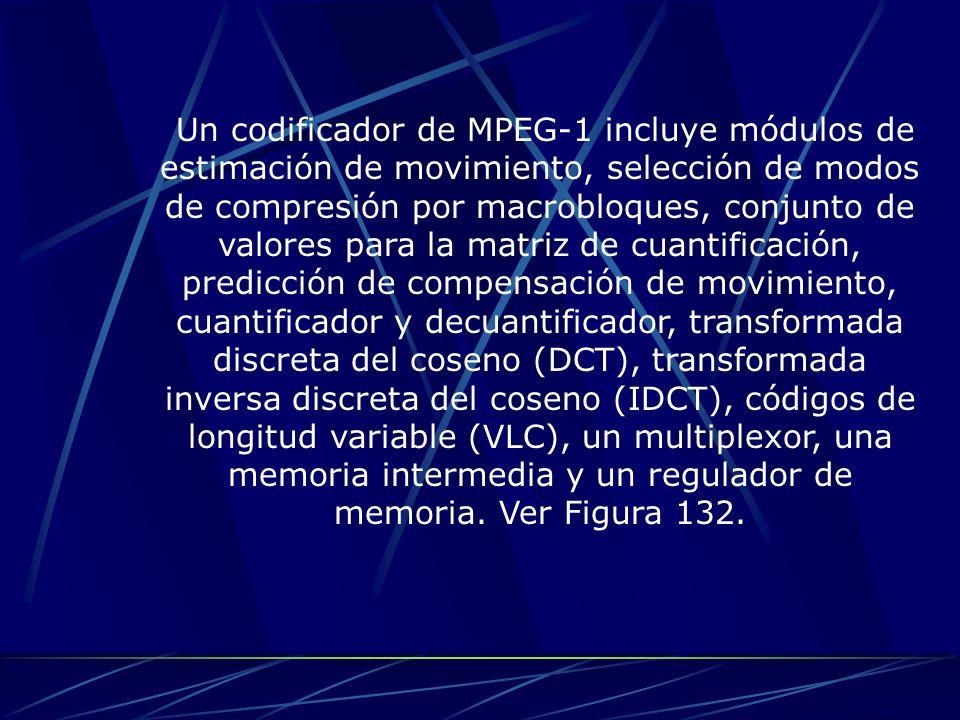 Un codificador de MPEG-1 incluye módulos de estimación de movimiento, selección de modos de compresión por macrobloques, conjunto de valores para la m