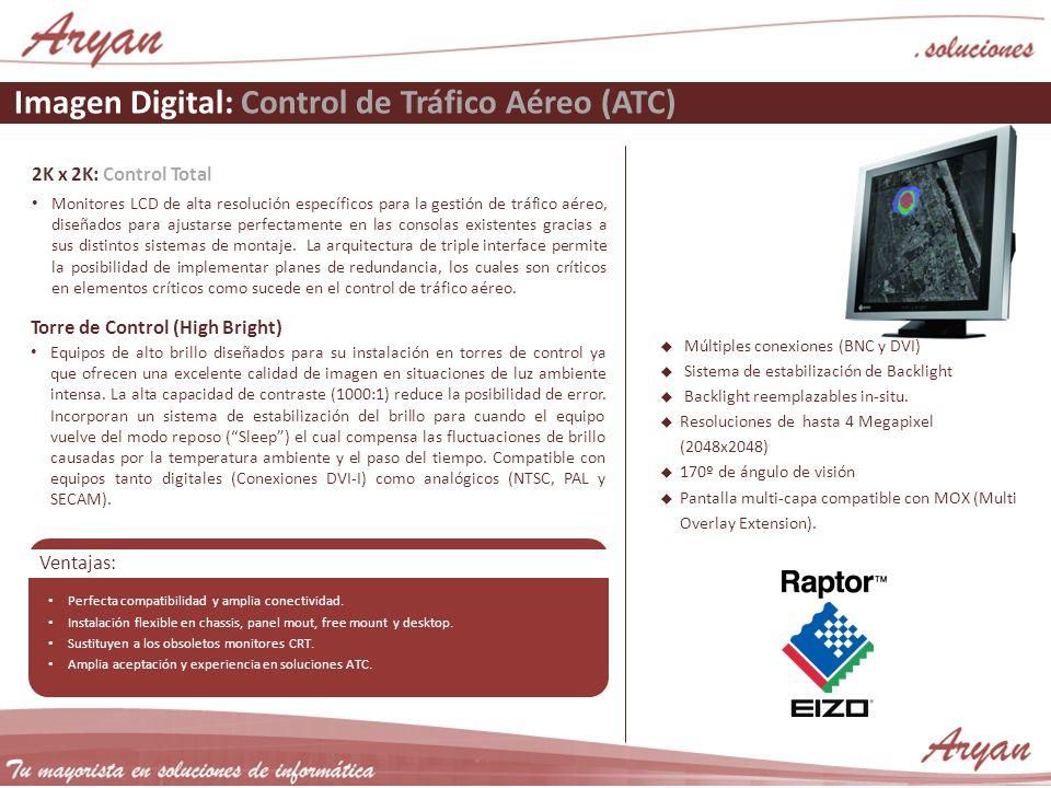Imagen Digital: Control de Tráfico Aéreo (ATC) 2K x 2K: Control Total Monitores LCD de alta resolución específicos para la gestión de tráfico aéreo, diseñados para ajustarse perfectamente en las consolas existentes gracias a sus distintos sistemas de montaje.