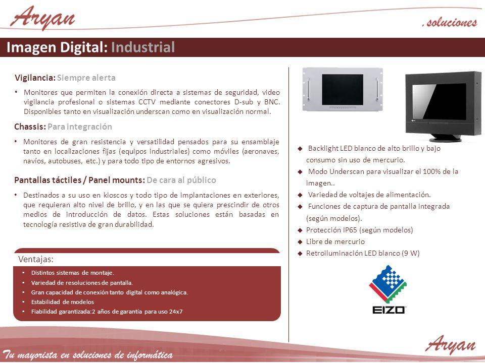 Imagen Digital: Industrial Vigilancia: Siempre alerta Monitores que permiten la conexión directa a sistemas de seguridad, video vigilancia profesional o sistemas CCTV mediante conectores D-sub y BNC.