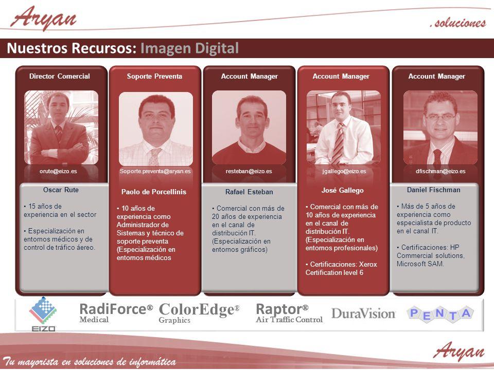 Nuestros Recursos: Imagen Digital Director ComercialAccount Manager Soporte Preventa Oscar Rute 15 años de experiencia en el sector Especialización en entornos médicos y de control de tráfico áereo.