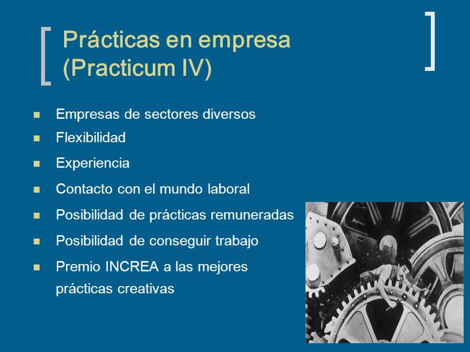 Prácticas en empresa (Practicum IV) Empresas de sectores diversos Flexibilidad Experiencia Contacto con el mundo laboral Posibilidad de prácticas remuneradas Posibilidad de conseguir trabajo Premio INCREA a las mejores prácticas creativas