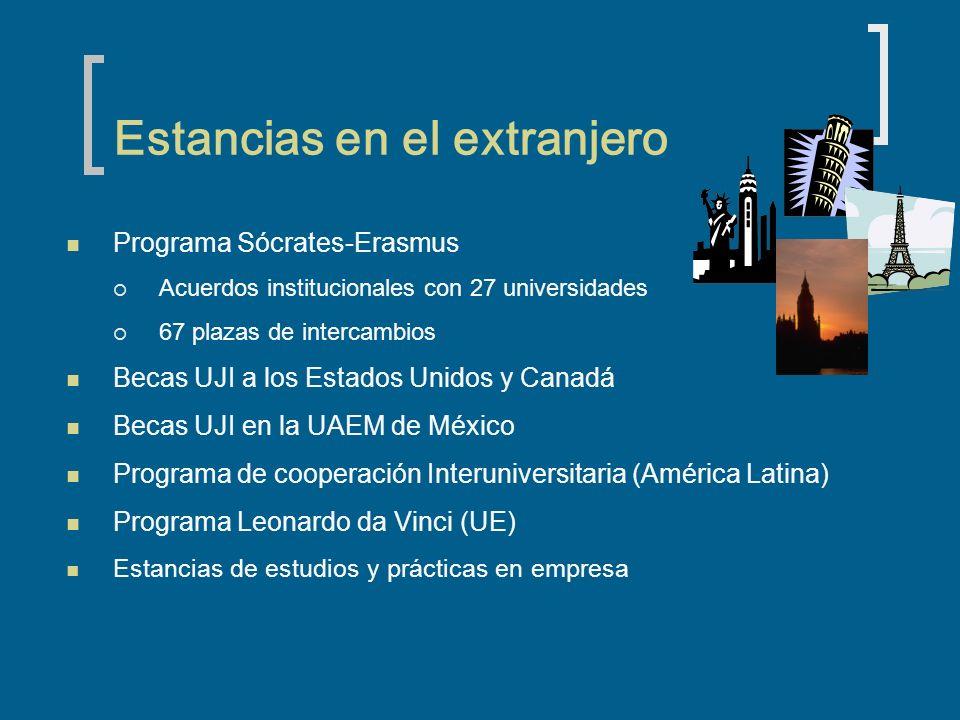 Estancias en el extranjero Programa Sócrates-Erasmus Acuerdos institucionales con 27 universidades 67 plazas de intercambios Becas UJI a los Estados Unidos y Canadá Becas UJI en la UAEM de México Programa de cooperación Interuniversitaria (América Latina) Programa Leonardo da Vinci (UE) Estancias de estudios y prácticas en empresa