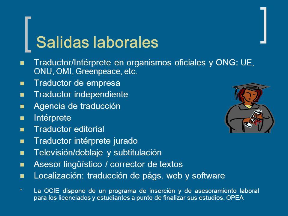 Salidas laborales Traductor/Intérprete en organismos oficiales y ONG: UE, ONU, OMI, Greenpeace, etc. Traductor de empresa Traductor independiente Agen