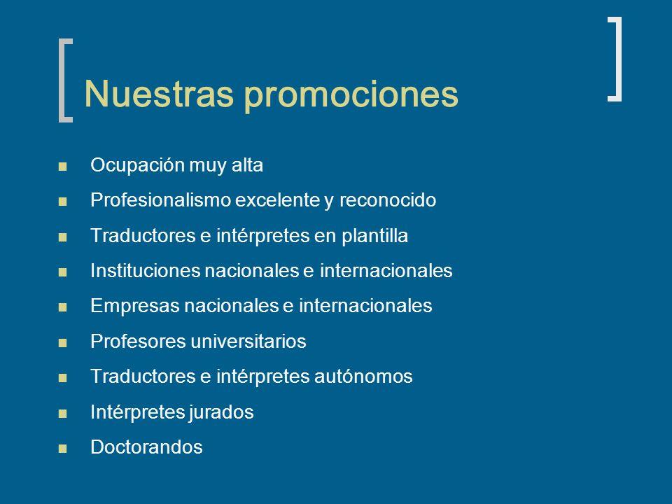 Nuestras promociones Ocupación muy alta Profesionalismo excelente y reconocido Traductores e intérpretes en plantilla Instituciones nacionales e inter