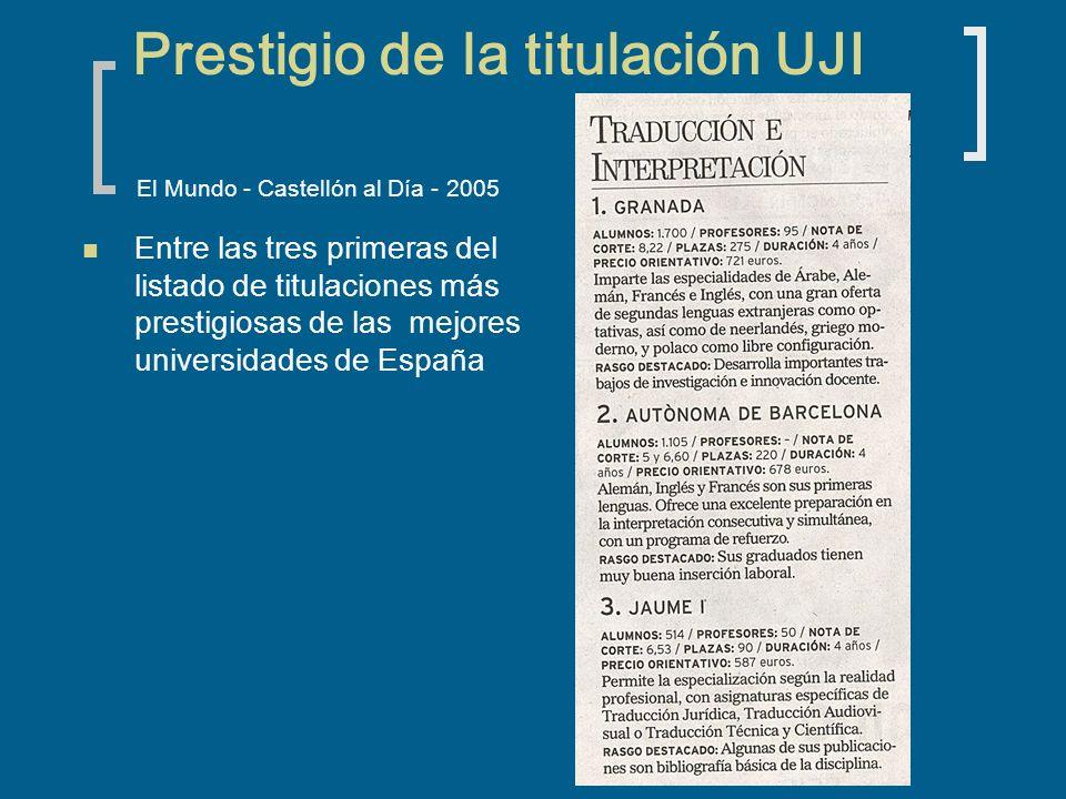 Prestigio de la titulación UJI El Mundo - Castellón al Día - 2005 Entre las tres primeras del listado de titulaciones más prestigiosas de las mejores