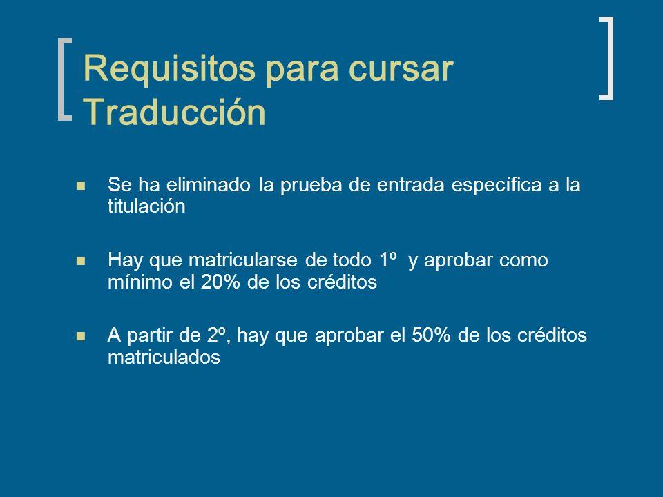 Requisitos para cursar Traducción Se ha eliminado la prueba de entrada específica a la titulación Hay que matricularse de todo 1º y aprobar como mínim