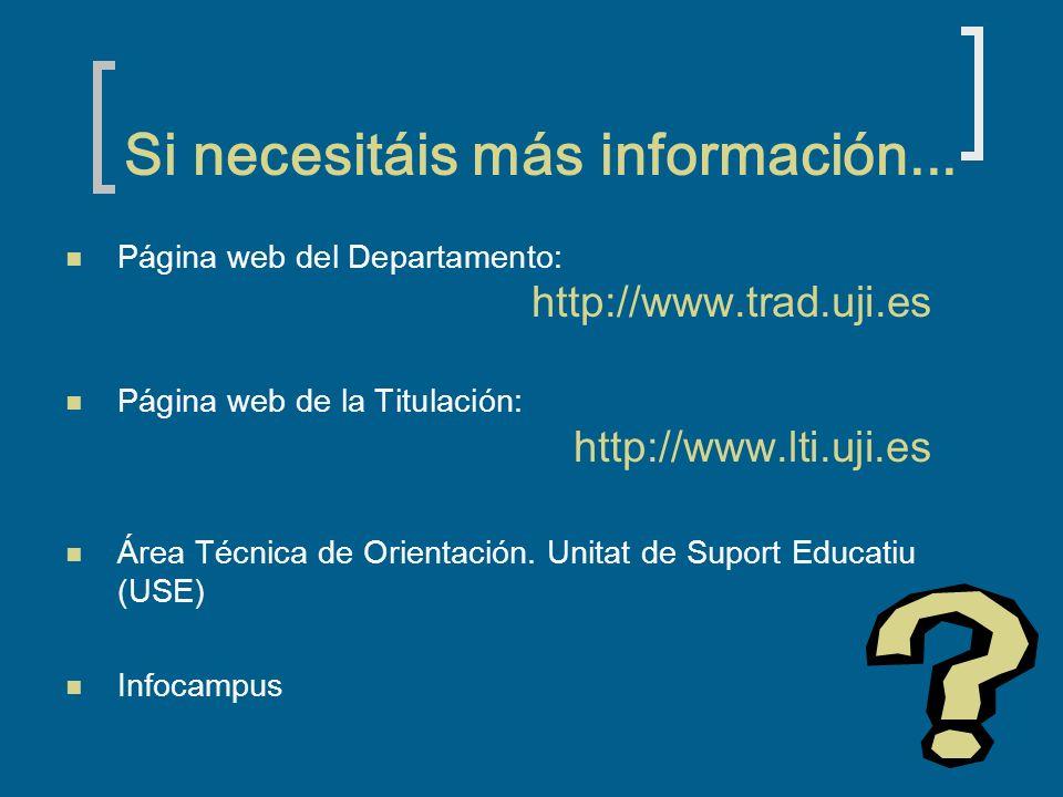 Si necesitáis más información... Página web del Departamento: http://www.trad.uji.es Página web de la Titulación: http://www.lti.uji.es Área Técnica d