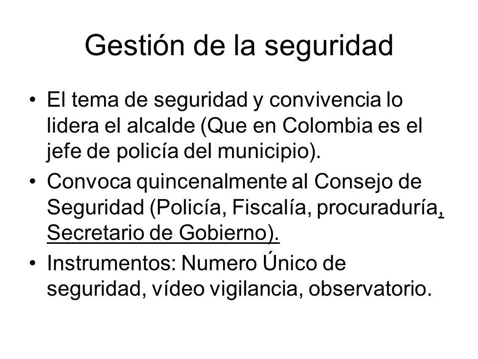 Gestión de la seguridad El tema de seguridad y convivencia lo lidera el alcalde (Que en Colombia es el jefe de policía del municipio). Convoca quincen