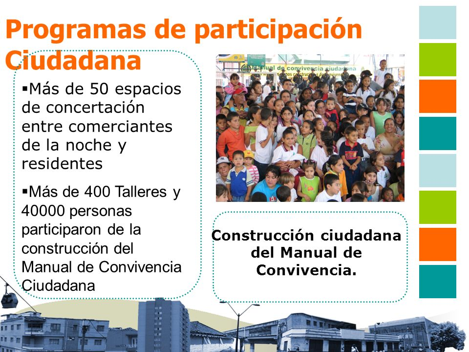 Programas de participación Ciudadana Más de 50 espacios de concertación entre comerciantes de la noche y residentes Más de 400 Talleres y 40000 person