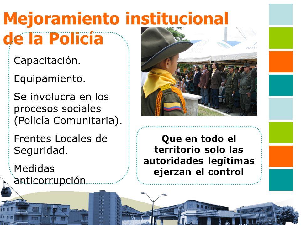 Mejoramiento institucional de la Policía Que en todo el territorio solo las autoridades legítimas ejerzan el control Capacitación. Equipamiento. Se in