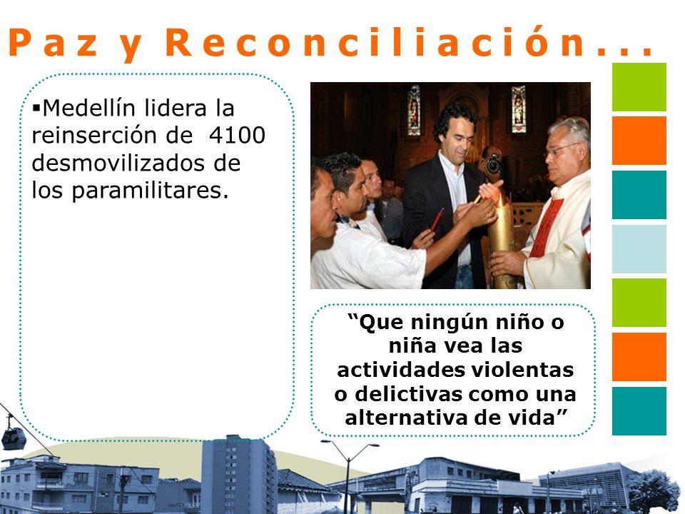 P a z y R e c o n c i l i a c i ó n... Medellín lidera la reinserción de 4100 desmovilizados de los paramilitares. Que ningún niño o niña vea las acti