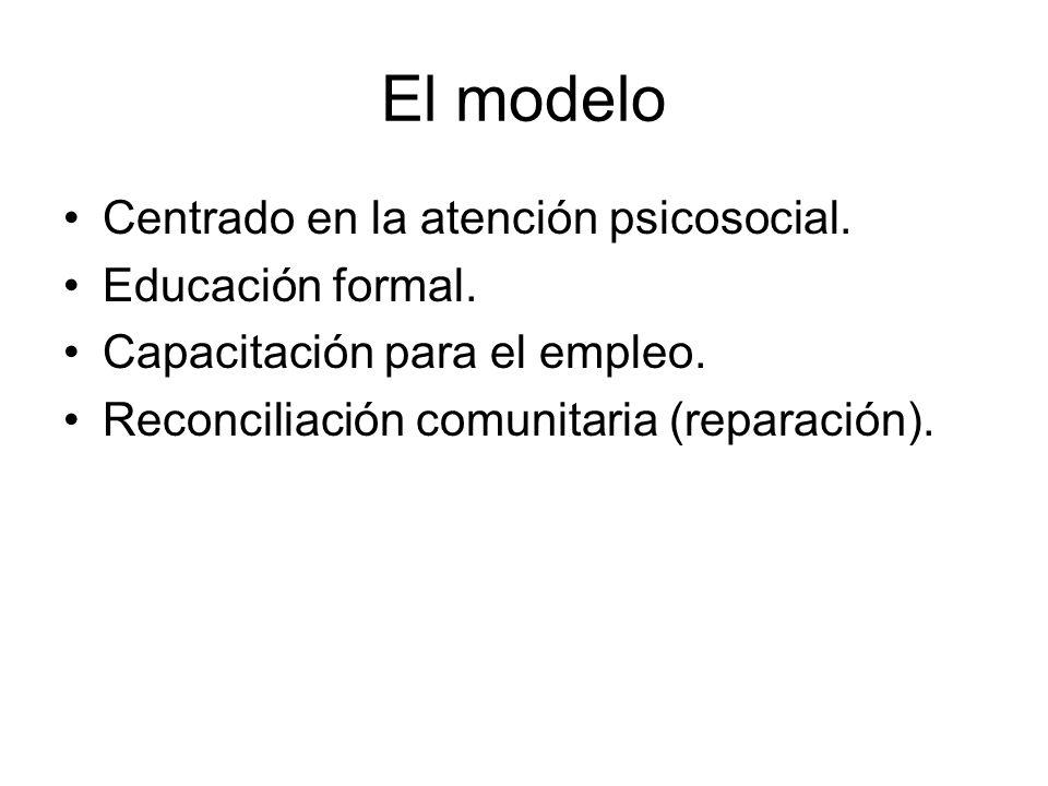 El modelo Centrado en la atención psicosocial. Educación formal. Capacitación para el empleo. Reconciliación comunitaria (reparación).