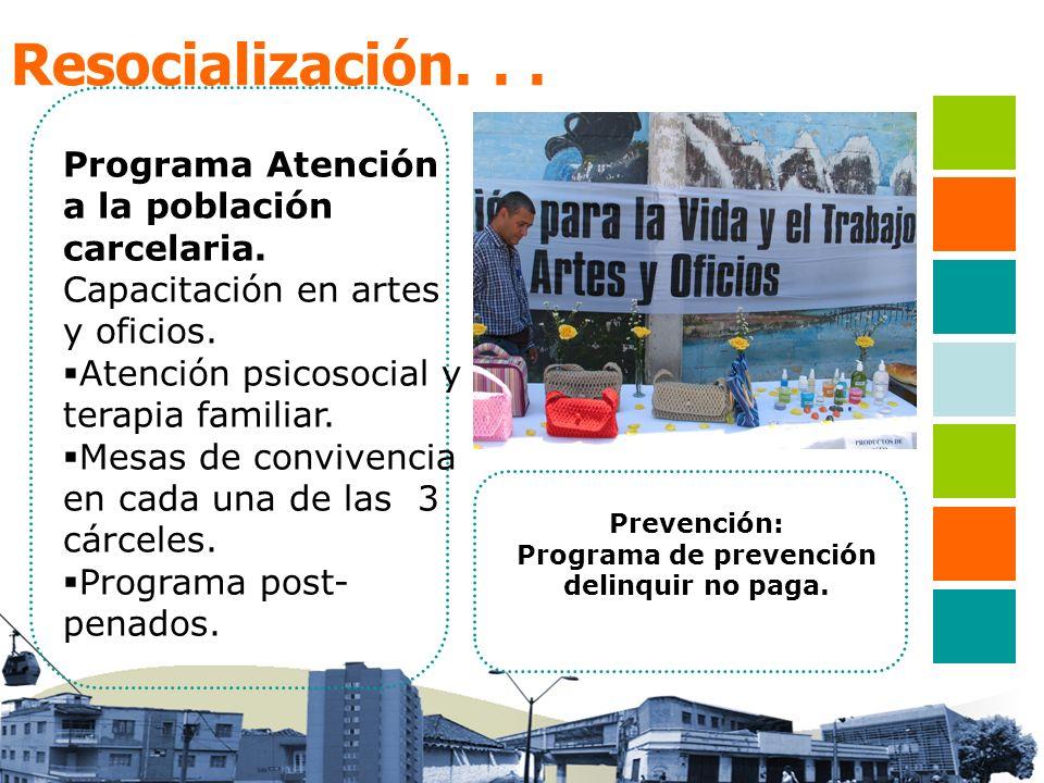 Resocialización... Programa Atención a la población carcelaria. Capacitación en artes y oficios. Atención psicosocial y terapia familiar. Mesas de con