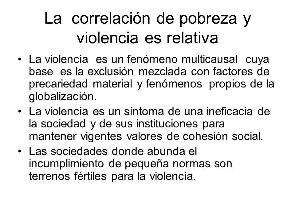La correlación de pobreza y violencia es relativa La violencia es un fenómeno multicausal cuya base es la exclusión mezclada con factores de precariedad material y fenómenos propios de la globalización.