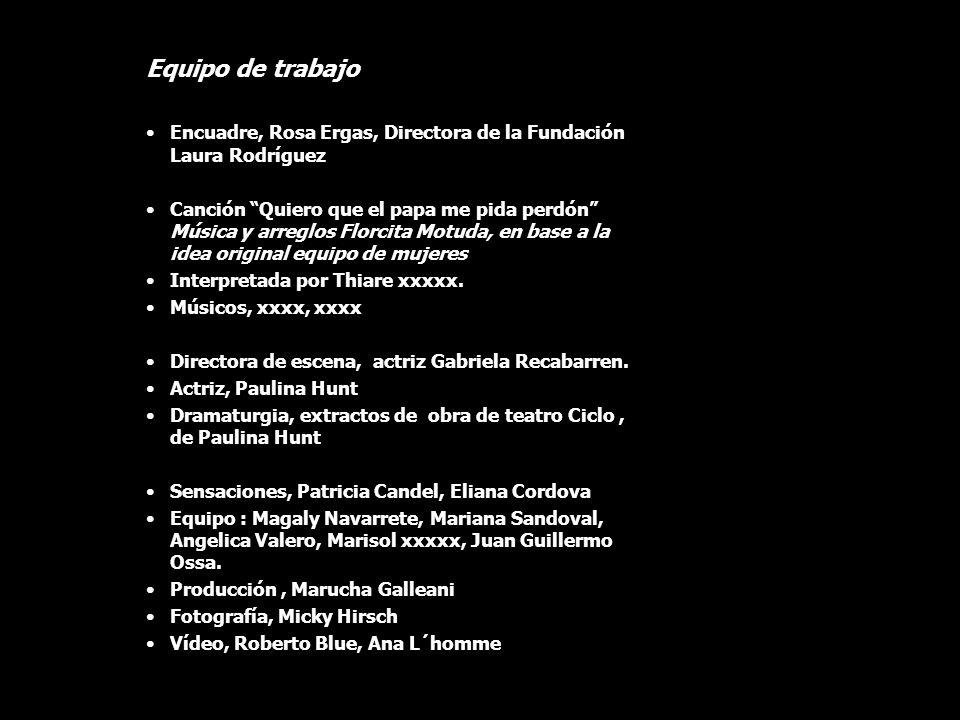 Equipo de trabajo Encuadre, Rosa Ergas, Directora de la Fundación Laura Rodríguez Canción Quiero que el papa me pida perdón Música y arreglos Florcita