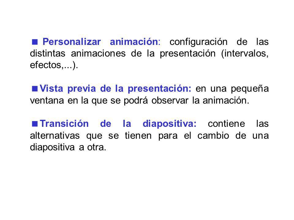 2.3 Menú Presentación Ver presentación: presenta el documento completo con las animaciones y efectos. Ensayar intervalos: se abre una ventana en la cu