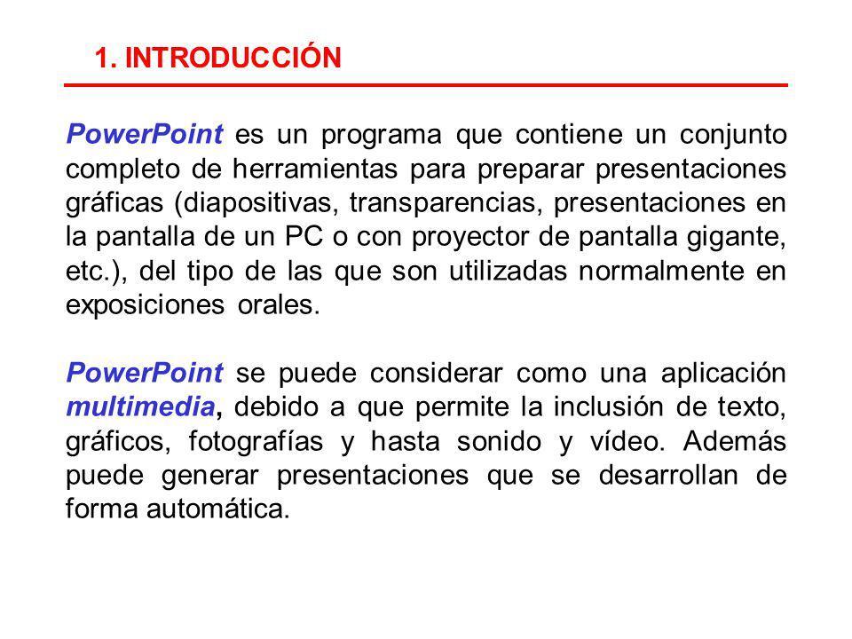PowerPoint es un programa que contiene un conjunto completo de herramientas para preparar presentaciones gráficas (diapositivas, transparencias, presentaciones en la pantalla de un PC o con proyector de pantalla gigante, etc.), del tipo de las que son utilizadas normalmente en exposiciones orales.