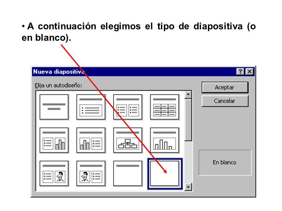 A continuación elegimos el tipo de diapositiva (o en blanco).