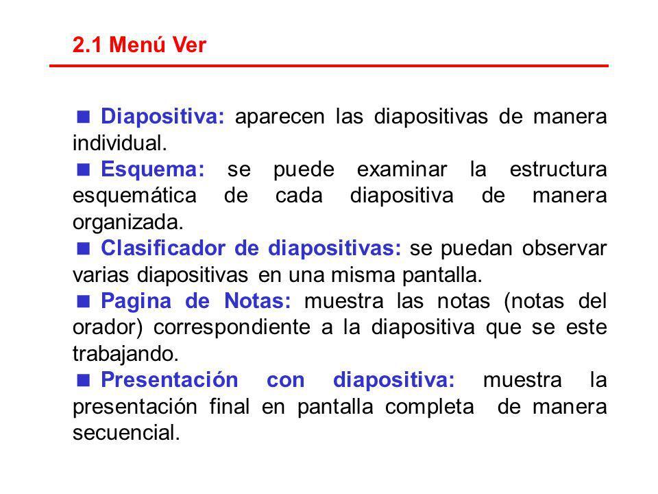 2.1 Menú Ver Diapositiva: aparecen las diapositivas de manera individual.