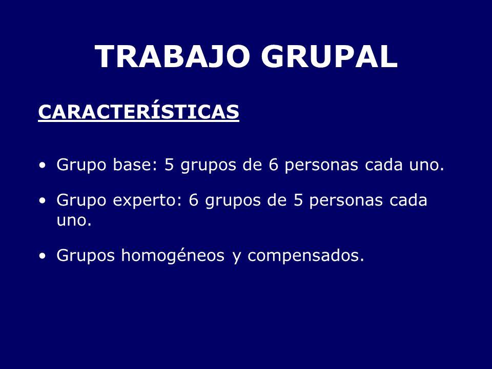 TRABAJO GRUPAL CARACTERÍSTICAS Grupo base: 5 grupos de 6 personas cada uno. Grupo experto: 6 grupos de 5 personas cada uno. Grupos homogéneos y compen