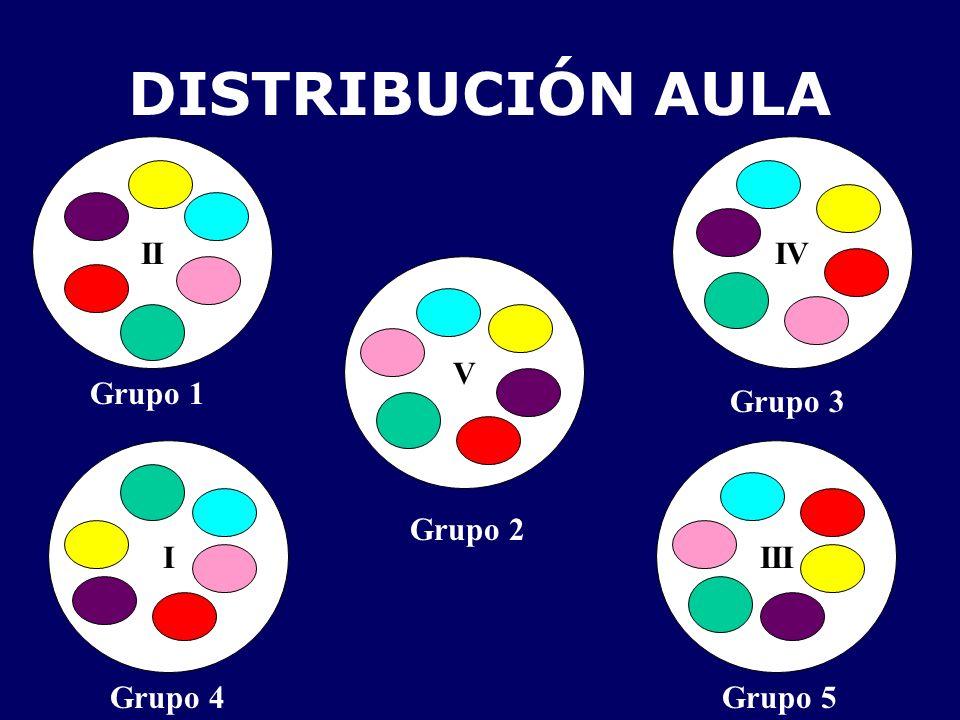 DISTRIBUCIÓN AULA II III IV V I Grupo 3 Grupo 1 Grupo 2 Grupo 4Grupo 5