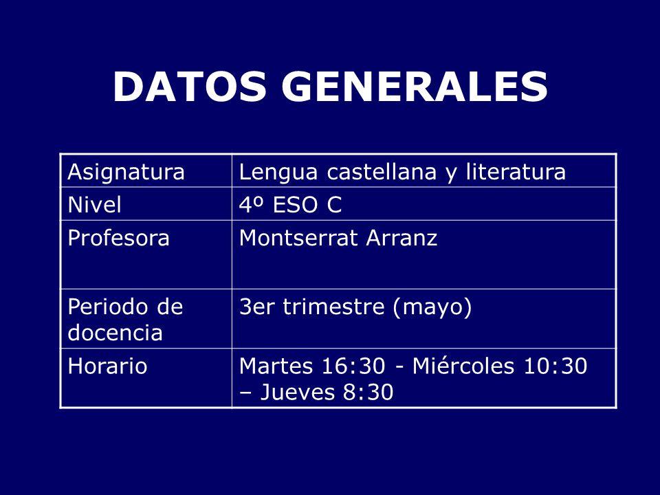 DATOS GENERALES AsignaturaLengua castellana y literatura Nivel4º ESO C ProfesoraMontserrat Arranz Periodo de docencia 3er trimestre (mayo) HorarioMart