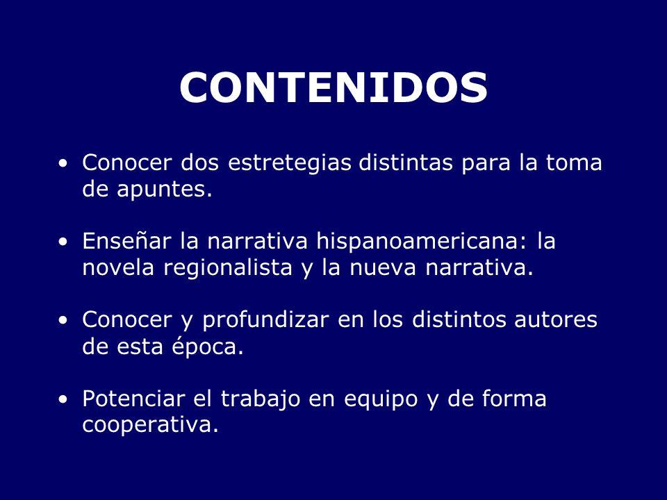 CONTENIDOS Conocer dos estretegias distintas para la toma de apuntes. Enseñar la narrativa hispanoamericana: la novela regionalista y la nueva narrati