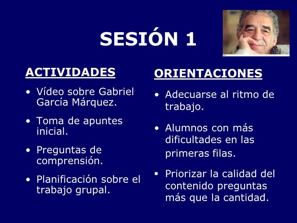 SESIÓN 1 ACTIVIDADES Vídeo sobre Gabriel García Márquez. Toma de apuntes inicial. Preguntas de comprensión. Planificación sobre el trabajo grupal. ORI