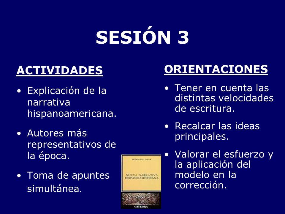 SESIÓN 3 ACTIVIDADES Explicación de la narrativa hispanoamericana. Autores más representativos de la época. Toma de apuntes simultánea. ORIENTACIONES