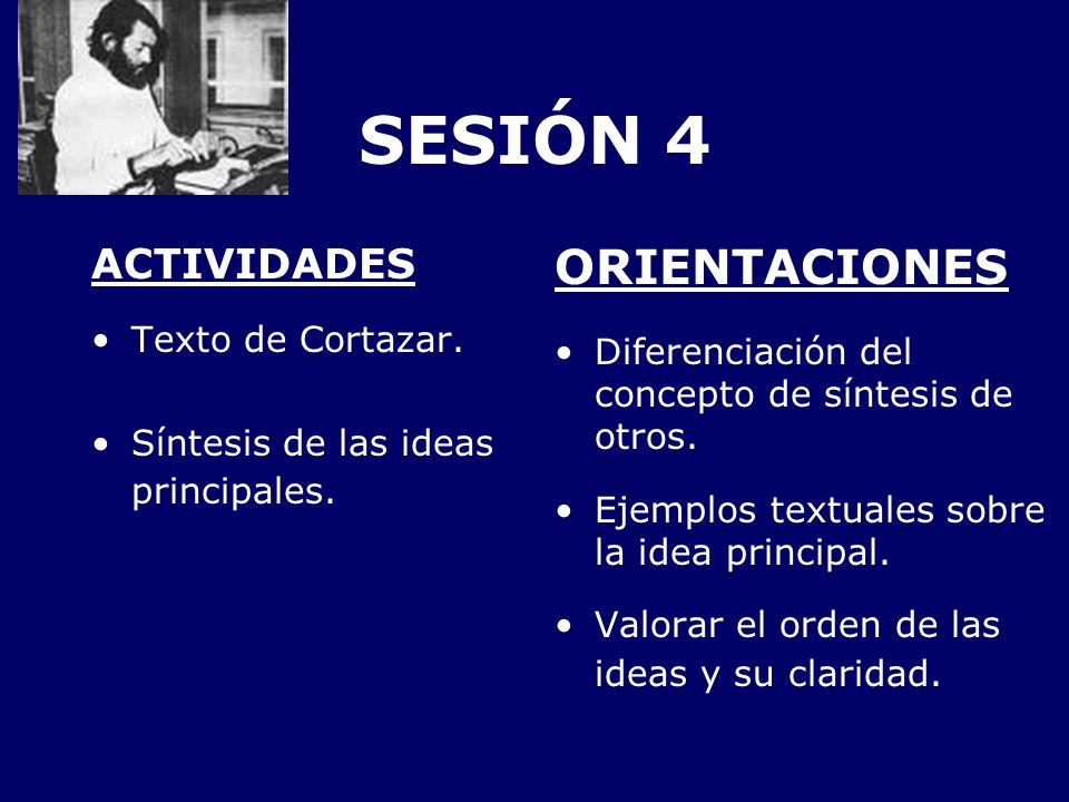 SESIÓN 4 ACTIVIDADES Texto de Cortazar. Síntesis de las ideas principales. ORIENTACIONES Diferenciación del concepto de síntesis de otros. Ejemplos te