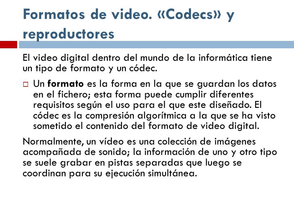 Formatos de video. «Codecs» y reproductores El video digital dentro del mundo de la informática tiene un tipo de formato y un códec. Un formato es la