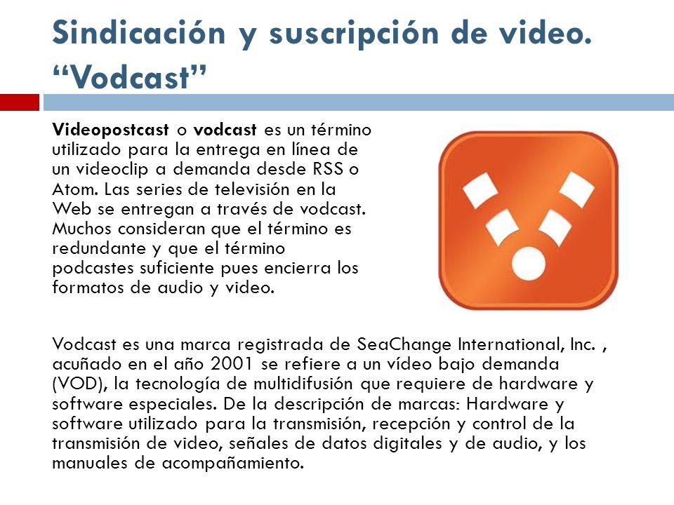 Sindicación y suscripción de video. Vodcast Videopostcast o vodcast es un término utilizado para la entrega en línea de un videoclip a demanda desde R